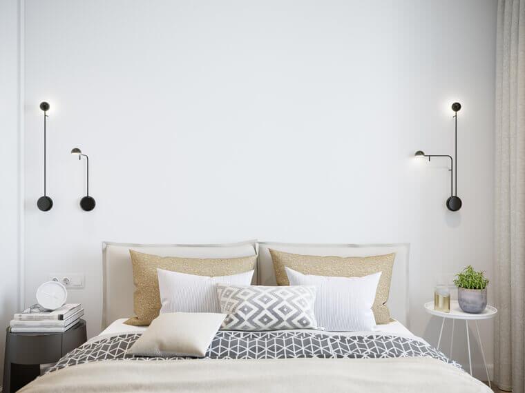 Mock up white wall bedroom interior. Scandinavian style interior.