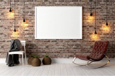 Modern bright interior with white board