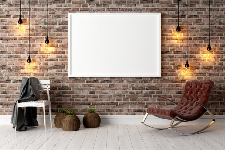 Modern bright interior with white board