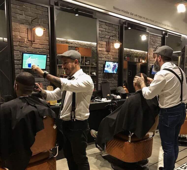 Client's in attendants in a barbershop