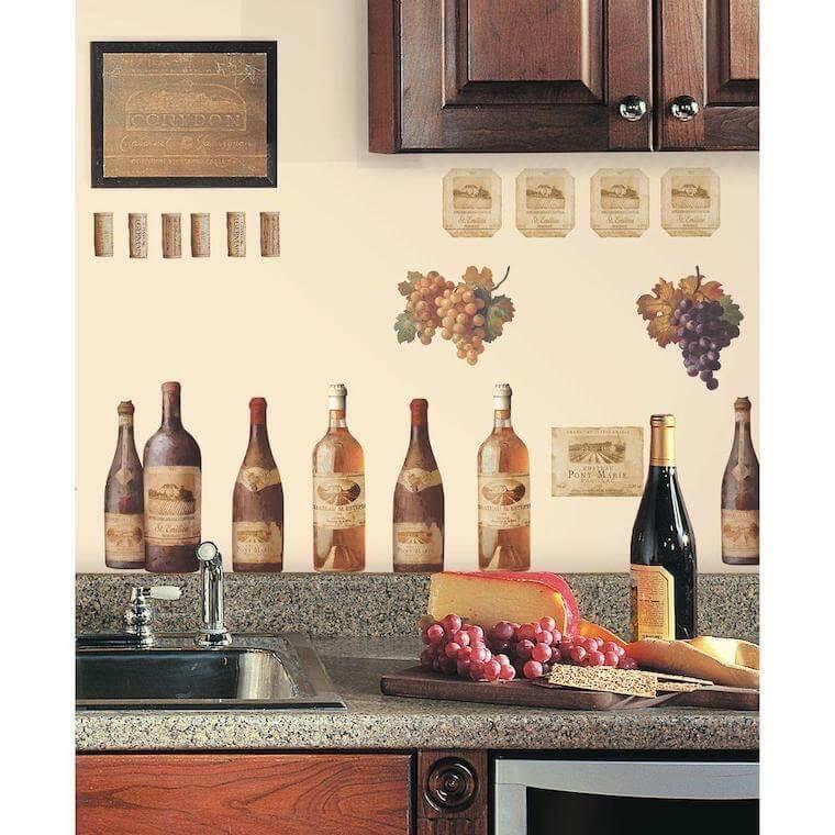Wine-themed kitchen wall decor