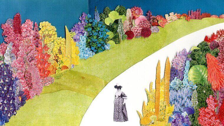 art piece of Gertrude Jekyll where she's surrounded by the artists' rendition of plants