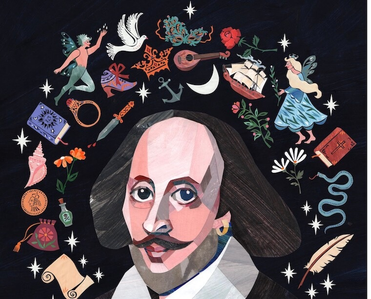 artist's creative rendition of Shakespeare for the book A Stage Full of Shakespeare Stories
