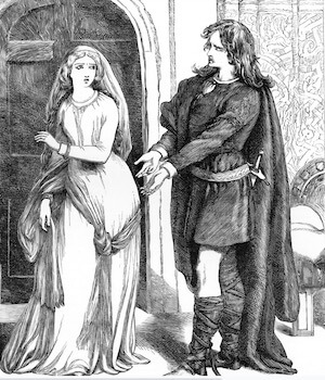 artist's rendition of Hamlet and Ophelia