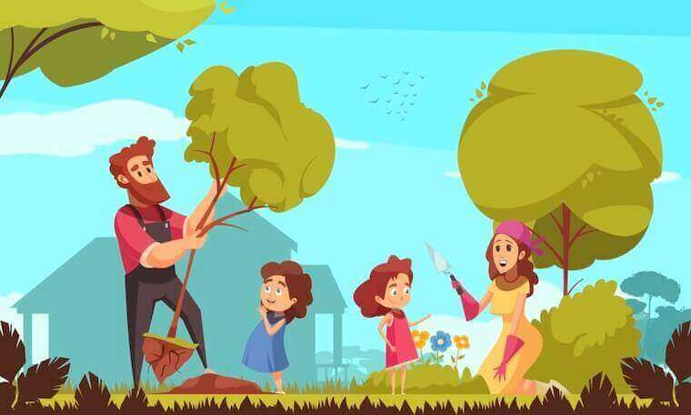 family gardening with kids cartoon