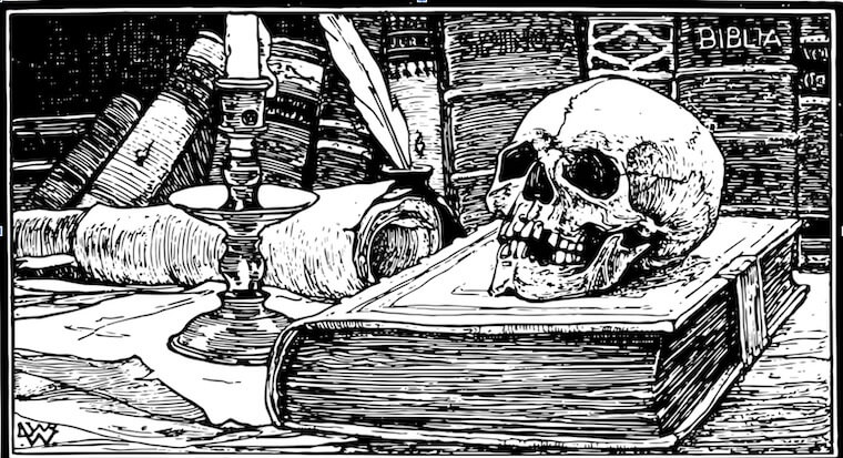 skull on top of a book in a library, black and white medieval image