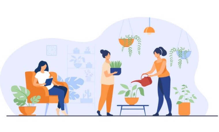 vector illustration of three girls growing plants in pots